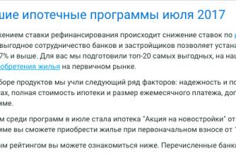 Выберу.Ру представили июльский рейтинг ипотечных программ