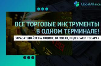Торгуйте акциями, валютами, индексами, сырьем с одного терминала в Global Alliance! Почему это выгодно?